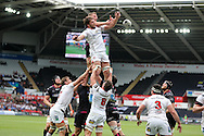 Iain Henderson of Ulster jumps to claim a line out ball.  Guinness Pro12 rugby match, Ospreys v Ulster Rugby at the Liberty Stadium in Swansea, South Wales on Saturday 7th May 2016.<br /> pic by  Andrew Orchard, Andrew Orchard sports photography.
