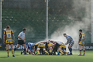 steam rises from the Scrum deep in the Newport Gwent Dragons 22. EPCR Challenge cup rugby match, pool 3, Worcester Warriors v Newport Gwent Dragons at the Sixways Stadium in Worcester, England on Saturday 10th December 2016.<br /> pic by  Simon Latham, Andrew Orchard sports photography.