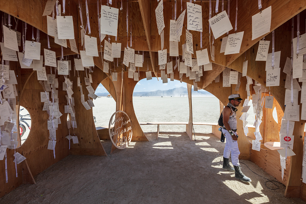 love, earth<br /> by: The love, earth writer collective<br /> from: Vancouver, British Columbia, Canada<br /> year: 2019<br /> <br /> The largest love letter movement ever conceived. The purpose: to inspire a clean climate future by spreading simple commitments to our planet. The art is intended to mobilize citizens to use the power of sending and receiving letters of love from Earth to change, contribute and commit to an environment that we can all be proud of.<br /> <br /> The installation will be large enough to be captured from space, and thus our imaginations. In year one, a sky-facing comma will emerge and form a love letter altar. Within the wood structure, a writing area would support a hanging collection of completed letters, growing organically, drawing on attendees to contribute to a siren call from Earth, distributed around the world after the event by the artists.<br /> <br /> URL: http://love.lettersfromearth.org/installation<br /> Contact: love@lettersfromearth.org<br /> <br /> https://burningman.org/event/brc/2019-art-installations/?yyyy=&artType=B#a2I0V000001T96KUAS