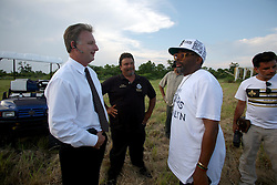 01 June 2010. Breton Sound Marina, Hopedale, Louisiana, USA.  <br /> Spike Lee and local officials on set in Chalmette for his latest movie,  'If God is Willing and da Creek Don't Rise.'<br /> Photo; Charlie Varley.