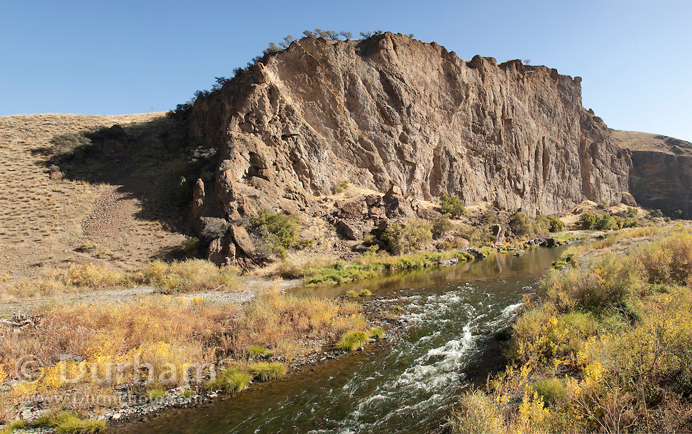 Goose Rock, a geologic formation above the John Day River in the John Day Fossil Beds National Monument, Oregon.