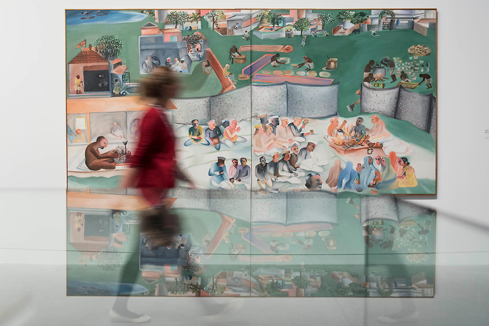 Yagnya or Marriage 2000 - Bhupen Khakhar: You Can't Please All at Tate Modern. It is the first international retrospective of the Indian artist since his death. He was known for his vibrant, bold works that examine class and sexuality. The Exhibition runs from 1 June – 6 November 2016.