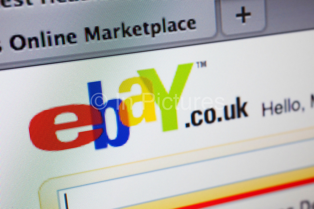 Computer screen showing the website for online shopping and auction site; ebay.