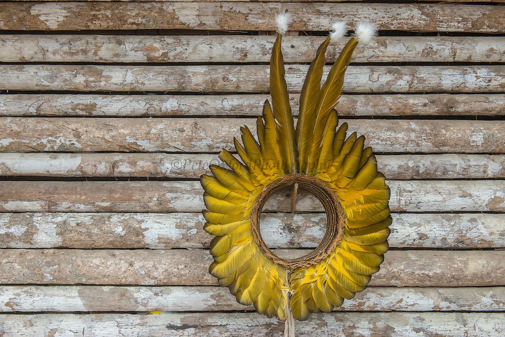 Wai Wai headdress<br /> Wai Wai territory, region 9<br /> Gunns<br /> Konashen<br /> GUYANA<br /> South America<br /> Macaw feathers