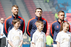 Falkirk's Rory Loy, Falkirk's David Smith and Falkirk's Tom Taiwo. Falkirk 1 v 2 Inverness CT, Scottish Cup final at Hampden.