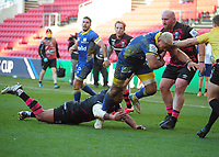 Rugby Union - 2020 / 2021 Heineken Cup - Pool 2 - Bristol Bears vs ASM Clermont Auvergne - Ashton Gate<br /> <br /> Fritz Lee of Clermont Auvergne dives over for his 2nd half try<br /> <br /> COLORSPORT/ANDREW COWIE