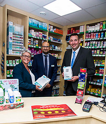 Pictured: Phamacist Mahyar Nickkho-Amiry explained how his pharmacy operated yo Miles Briggs and Annie Wells <br /> <br /> The shadow health secretary Miles Briggs and public health spokesman Annie Wells visited Dears Pharmany in Oxgangs, Edinburgh, today to announce the initiative to make pharmacies a key partner in primary health care.  <br /> <br /> Ger Harley | EEm 27 July 2018