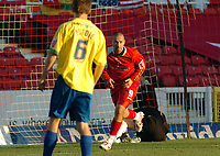 Photo: Kevin Poolman.<br /> <br /> Swindon Town v Hereford United. Coca Cola League 2. 04/11/2006. Christian Roberts of Swindon turns to celebrate his goal and Swindon's first.