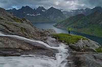 Small waterfall flows into Kirkefjord, Moskenesøy, Lofoten Islands, Norway