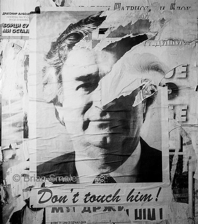 Poster of Radovan Karadzic, on wall in Bosnia.
