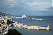 View out towards the Mediterranean Sea across the harbour wall on 16th September 2017 in Bastia, Corsica, France. Bastia is a French commune in the Haute-Corse department of France located in the north-east of the island of Corsica at the base of Cap Corse. Bastia is the principal port and commercial town of the island. The inhabitants of Bastia are known as Bastiais or Bastiaises.