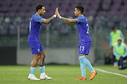 (L-R) Memphis Depay of Holland, Justin Kluivert of Holland during the International friendly match match between Portugal and The Netherlands at Stade de Genève on March 26, 2018 in Geneva, Switzerland
