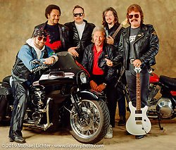 Arlen Ness and the Doobie Brothers during a poster shoot with the band and Arlen's custom known as the Bat Bike. Oakland, CA. Photograph ©Michael Lichter 1991