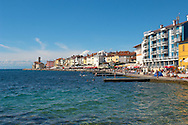 Sea Front with retaurants & hotels. Piran , Slovenia Visit our PHOTO COLLECTIONS OF SLOVANIAN  HISTOIC PLACES for more photos to download or buy as wall art prints https://funkystock.photoshelter.com/gallery-collection/Pictures-Images-of-Slovenia-Photos-of-Slovenian-Historic-Landmark-Sites/C0000_BlKhcYWnT4Sites/C0000qxA2zGFjd_k