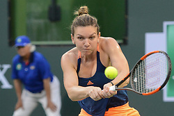 March 11, 2017 - Indian Wells, California, United States - SIMONA HALEP of Romania in her match vs. D. Vekic in the BNP Paribas Open tennis tournament in Indian Wells California. (Credit Image: © Christopher Levy via ZUMA Wire)
