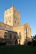 """Exterior of Tewkesbury tower Abbey  dating from 1150  rated """"probably the largest and finest Romanesque tower in England"""" by Sir Nikolaus Pevsner."""
