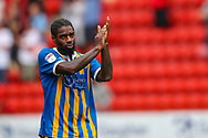 Shrewsbury Town midfielder Anthony Grant (42) applauds the visiting fans after the EFL Sky Bet League 1 match between Charlton Athletic and Shrewsbury Town at The Valley, London, England on 11 August 2018.