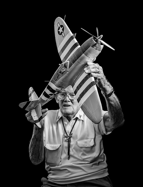 Rae Preston flew 95 combat missions in the early days of WWII as a P-47 fighter pilot.  He later became the first licensed helicopter pilot in Georgia.   <br /> <br /> Created by aviation photographer John Slemp of Aerographs Aviation Photography. Clients include Goodyear Aviation Tires, Phillips 66 Aviation Fuels, Smithsonian Air & Space magazine, and The Lindbergh Foundation.  Specialising in high end commercial aviation photography and the supply of aviation stock photography for advertising, corporate, and editorial use.