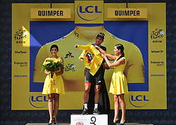 July 11, 2018 - Quimper, FRANCE - Belgian Greg Van Avermaet of BMC Racing celebrates on the podium in the yellow jersey of leader in the overall ranking after the fifth stage of the 105th edition of the Tour de France cycling race, from Lorient to Quimper (204,5 km), in France, Wednesday 11 July 2018. This year's Tour de France takes place from July 7th to July 29th. BELGA PHOTO DAVID STOCKMAN - FRANCE OUT (Credit Image: © David Stockman/Belga via ZUMA Press)