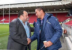 Bristol Rugby Head Coach Pat Lam chat's with matchday sponsor - Mandatory by-line: Paul Knight/JMP - 22/10/2017 - RUGBY - Ashton Gate Stadium - Bristol, England - Bristol Rugby v Doncaster Knights - B&I Cup