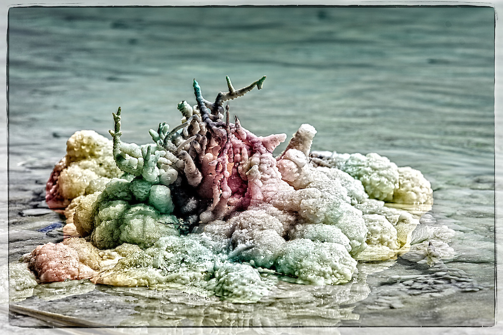Colorful salt crystals at the Dead Sea in Israel