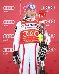 04.02.2011, Arber Zwiesel, GER, FIS World Cup Ski Alpin, Lady, Slalom, im Bild Siegerin am Podest Marlies Schild (AUT, #2) // Marlies Schild (AUT) // during FIS Ski Worldcup ladies Slalom at Arber Zwiesel, Germany on 04/02/2011. EXPA Pictures © 2011, PhotoCredit: EXPA/ R. Hackl