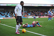 foul byGary McSheffrey of Scunthorpe United on Kyel Reid of Bradford City penalty given during the Sky Bet League 1 match between Scunthorpe United and Bradford City at Glanford Park, Scunthorpe, England on 21 November 2015. Photo by Ian Lyall.