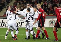 Photo: Paul Thomas.<br /> Bayer Leverkusen v Tottenham Hotspur. UEFA Cup. 23/11/2006.<br /> <br /> Spurs and Dimitar Berbatov celebrate his goal.