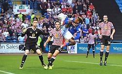 Carlisle United's Reggie Lambe tries an acrobatic attempt on goal