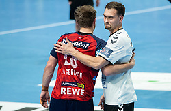 Albin Lagergren of Loewen and Darko Cingesar of Trimo Trebnje after the handball match between RK Trimo Trebnje and Rhein-Neckar Loewen, on February 10, 2021 in Hala Tivoli, Ljubljana, Slovenia. Photo by Vid Ponikvar / Sportida