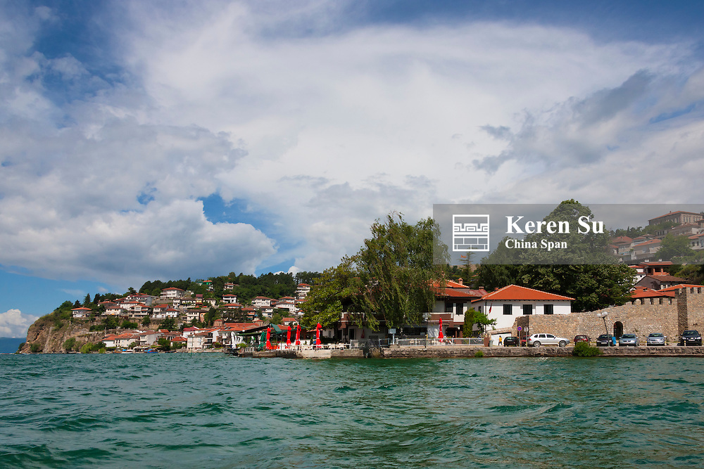 Ohrid cityscape on the shores of Lake Ohrid, Republic of Macedonia