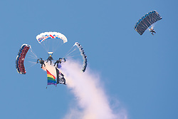 August 6, 2017 - Brighton, East Sussex, UK - Brighton, UK. Brighton & Hove Pride, East Sussex.  Delivery of the Rainbow Flag by Princess Wales Parachute Regiment to head of Parade. (Credit Image: © Andy Sturmey/London News Pictures via ZUMA Wire)