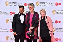 Rahul Mandal, Prue Leith and Sandi Toksvig attending the Virgin Media BAFTA TV awards, held at the Royal Festival Hall in London.