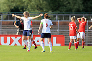 Ada Hegerberg of Norway (l) celebrates after she scores her teams 2nd goal. Wales Women v Norway Women, Women's Euro 2017  Qualifying, group 8 match at the Newport Stadium in Newport, South Wales on Tuesday 7th June 2016. pic by  Andrew Orchard, Andrew Orchard sports photography.