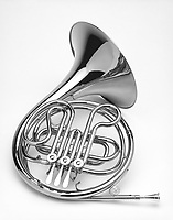 French horn shot on white background in Black and white.