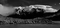 Sky, Clouds and Mountains in Torres del Paine National Park. In-camera panorama taken with a Fuji X-T1 camera.