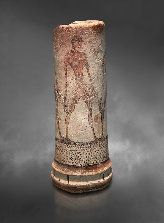 Cycladic cylindrical vase illustrated with a fisherman (1600 BC) , Phylakopi III, Melos. National Archaeological Museum Athens. Cat No 5782.  Gray background.<br /> <br /> <br /> The vase has a procession of 4 fishermen illustrated on iy running all the way round it. .<br /> <br /> If you prefer to buy from our ALAMY PHOTO LIBRARY  Collection visit : https://www.alamy.com/portfolio/paul-williams-funkystock/cycladic-art-artefacts.html Type into the LOWER SEARCH WITHIN GALLERY box to refine search by adding background colour, place, museum etc<br /> <br /> Visit our CYCLADIC CIVILISATIONS PHOTO COLLECTIONS for more photos to download or buy as wall art prints https://funkystock.photoshelter.com/gallery-collection/Cycladic-civilisation-Ancient-Greek-Artefacts-art-Photos-Pictures-Images/C0000CmevVvnC.XU