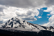 Heaven's Peak with watermelon snow visible lower left - Going to the Sun Road