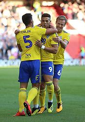 Birmingham City's Che Adams (centre) celebrates scoring his side's second goal of the game