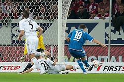 21.09.2010, Rhein-Neckar-Arena, Sinsheim, GER, 1. FBL, TSG Hoffenheim vs FC Bayern Muenchen, im Bild Vedad Ibisevic (Hoffenheim BOS #19) macht nach 40 Sekunden das 1:0 gegen Philipp Lahm (Bayern #21), Daniel van Buyten (Bayern #5) und Hans Joerg Butt (Bayern #1), EXPA Pictures © 2010, PhotoCredit: EXPA/ nph/  Roth+++++ ATTENTION - OUT OF GER +++++ / SPORTIDA PHOTO AGENCY