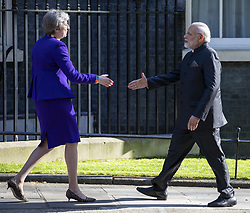 April 18, 2018 - London, UK - Prime Minister Theresa May (L) and Indian Prime Minister Narendra Modi (R) meet at 10 Downing Street. (Credit Image: © Rob Pinney/London News Pictures via ZUMA Wire)