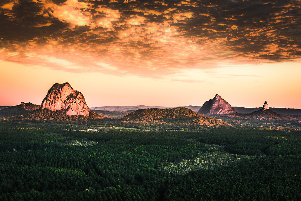 Sunrise over Glass House Mountains of Queensland