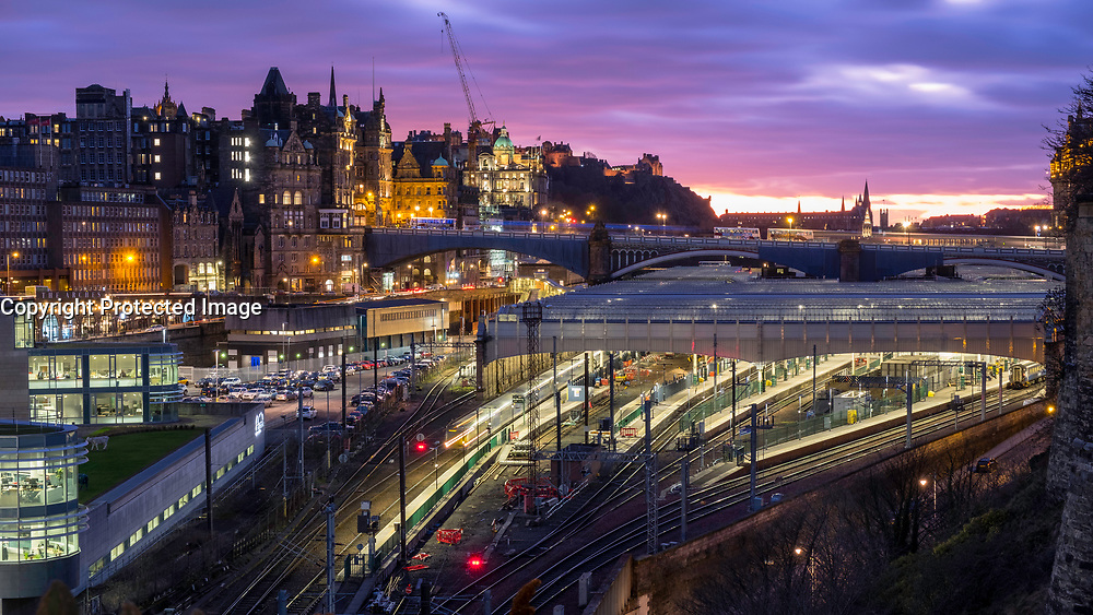 Night view of Waverley railway station in Edinburgh, Scotland, United Kingdom