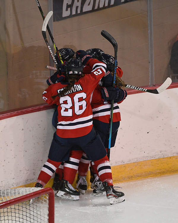 ERIE, PA - MARCH 05: Ellie Marcovsky #23 of the Robert Morris Colonials celebrates with teammates after scoring a goal in the first period during the game against the Mercyhurst Lakers at the Erie Insurance Arena on March 5, 2021 in Erie, Pennsylvania. (Photo by Justin Berl/Robert Morris Athletics)