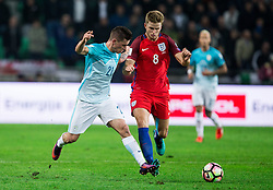 Benjamin Verbic of Slovenia vs Eric Dier of England during football match between National teams of Slovenia and England in Round #3 of FIFA World Cup Russia 2018 Qualifier Group F, on October 11, 2016 in SRC Stozice, Ljubljana, Slovenia. Photo by Vid Ponikvar / Sportida