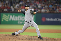 May 23, 2018 - Arlington, TX, U.S. - ARLINGTON, TX - MAY 23: New York Yankees pitcher Dellin Betances (68) throws to the plate during the game between the New York Yankees and the Texas Rangers on May 23, 2018 at Globe Life Park in Arlington, TX. (Photo by George Walker/Icon Sportswire) (Credit Image: © George Walker/Icon SMI via ZUMA Press)