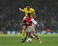 Arsenal's Alexis Sanchez tussles with Dortmund's Neven Subotic<br /> <br /> UEFA Champions League- Arsenal vs Borussia Dortmund- Emirates Stadium - England - 26th November 2014 - Picture David Klein/Sportimage