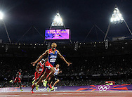 Dominican Republic's Felix Sanchez reacts as he crosses the finish line in the Men's 400M Hurdles Final at the London 2012 Summer Olympics on August 6, 2012 in Stratford, London. Sanchez won a Gold Medal, finishing the race in 47.63 seconds.  (UPI)