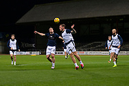 06/10/2020: Dundee FC train at Kilmac Stadium after their Betfred Cup match against Forfar Athletic was postponed due to a positive COVID test result for one of the Forfar players: Paul McGowan competes in the air with Lee Ashcroft  <br /> <br /> <br />  :©David Young: davidyoungphoto@gmail.com: www.davidyoungphoto.co.uk