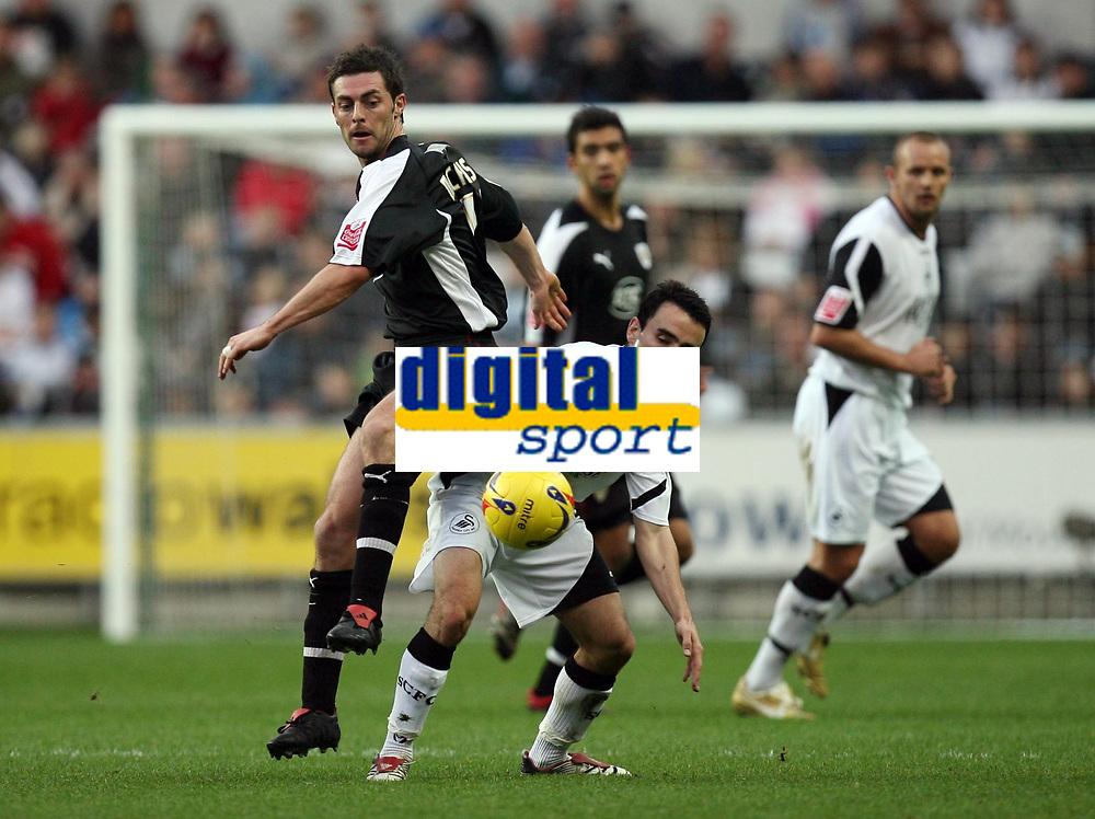 Photo: Rich Eaton.<br /> <br /> Swansea City v Bristol City. Coca Cola League 1. 26/11/2006. Jamie McAllister #17 left of Bristol gets to the ball ahead of Swanseas Leon Britton